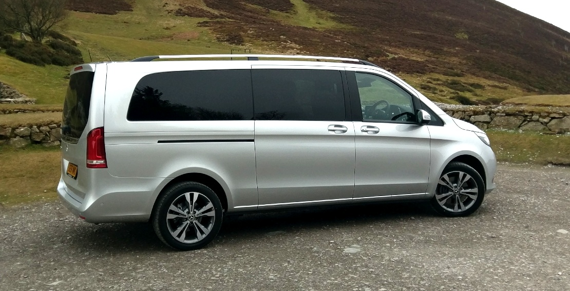 Image of Mercedes V Class in North Wales ready for carrying courier items