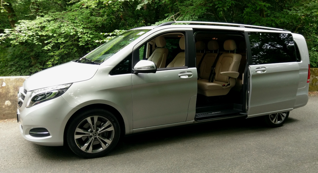 Image of the Mercedes Luxury people carrier with rear door open