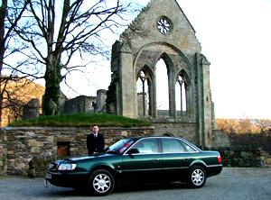 Picture of the Audi A6 near Llangollen at Valle Crucis Abbey