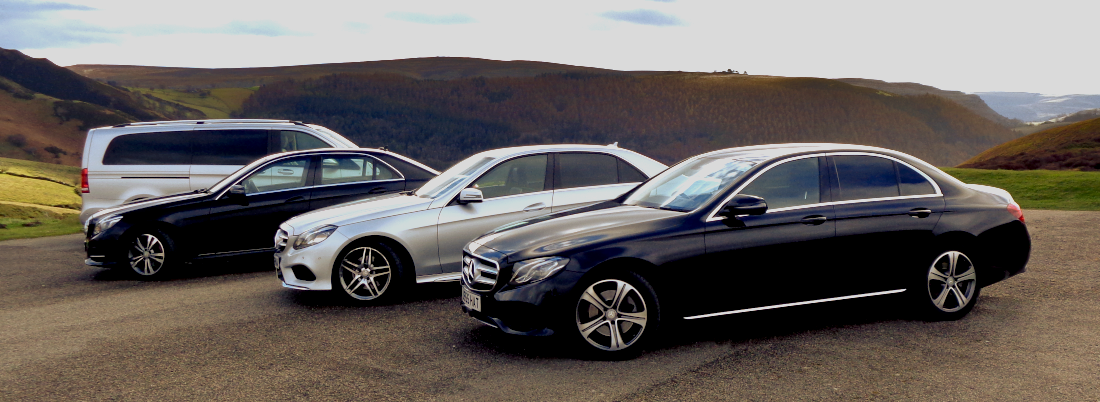 Picture of Mercedes fleet at Horseshoe Pass for corporate travel