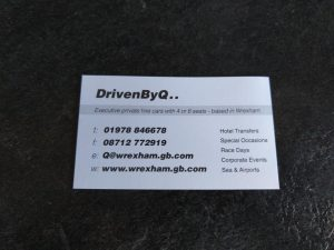 Image of the original DrivenByQ business card used fifteen years ago.