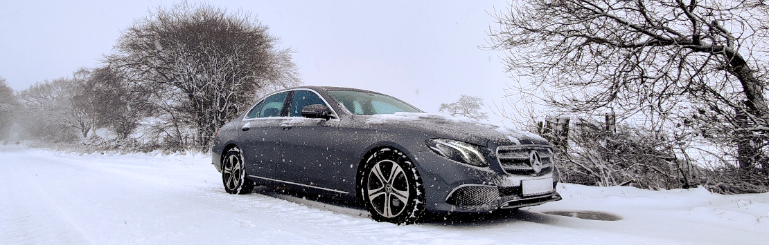Image of Mercedes E220d in the snow