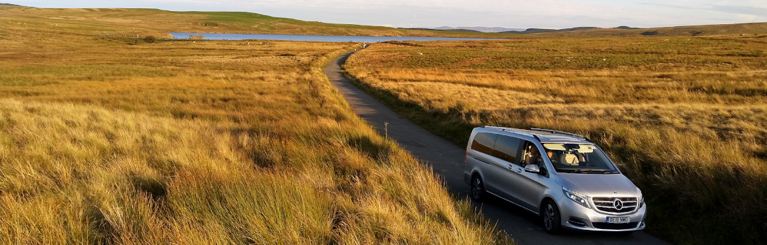 Mercedes V Class on Denbigh Moors located by a precision chauffeur